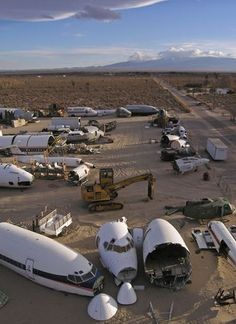 "Mojave Desert Boneyard | photo credit: Scott Haefner. The Mojave Desert is ""an ideal place to retire planes as it 'has a dry, clear and virtually smog-free climate that helps minimize corrosion.'"""