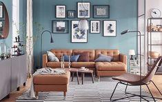 LANDSKRONA sofa, with chaise longue, Grann/Bomstad golden-brown/metal - Grann/Bomstad golden-brown - metal - IKEA Colourful Living Room, Living Room Colors, Living Room Sofa, Living Room Interior, Living Room Designs, Living Room Decor, Living Rooms, Living Area, Landskrona Sofa