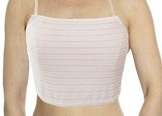 NWT size 36-38 Camisole Built-in Bra White Cotton Spandex L