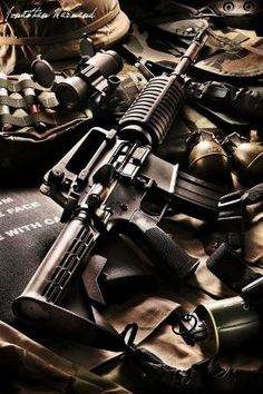 Colt Carbine // Photo captured by Jonathan Marmand Assault Weapon, Assault Rifle, Weapons Guns, Guns And Ammo, Armas Wallpaper, M4 Carbine, Ar Rifle, Nail Gun, Cool Guns