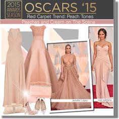 Academy Awards 2015: Peach Tones by vikkih7 on Polyvore featuring Jason Wu, Versace, Valentino, Stuart Weitzman, Judith Leiber, Badgley Mischka, Jennifer Lopez, oscars2015 and PVredcarpet