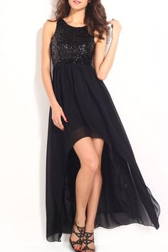 This is a gorgeous evening dress featuring a black sequined top, and a beautiful back decorated with several sequined straps and a two-layer bottom with high low length.   Black Sequin Dress by Adore Clothes & More. Clothing - Dresses - Formal Washington