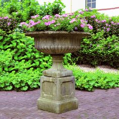 A Victorian grand Tazza garden planter gives a sophisticated and elegant look to the outdoors and adds a touch of a vintage garden scene. it is hand crafted out of stone. one would be place on upstage right and another on upstage left to create symmetry.