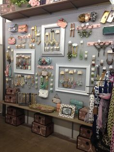 Craft room pegboard ideas jewelry displays 61 Ideas Craft room pegboard ideas j. - Craft room pegboard ideas jewelry displays 61 Ideas Craft room pegboard ideas j… - Jewellery Storage, Jewellery Display, Boutique Jewelry Display, Boutique Displays, Display Ideas For Jewelry, Charity Shop Display Ideas, Jewelry Store Displays, Vintage Store Displays, Flea Market Displays