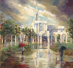 Rainy day at Bountiful Temple   Pricing:  19X21 Limited Print $178 19X21 Print Framed $430 11X14 Open Edition Canvas Giclee $249 28X28 Limited Giclee $580 28X28 Framed Giclee $998 8X10 Framed $39.95 Bookmark $1.50 Greeting Card $2.50 Card and Bookmark Gift Pack $3.95