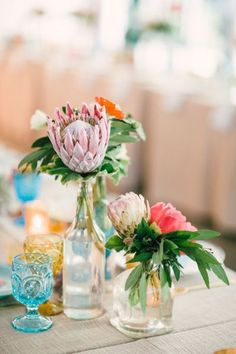 Tropical flowers: http://www.stylemepretty.com/california-weddings/palm-springs/2015/04/03/whimsical-desert-wedding-in-palm-springs/ | Photography: Mi Belle - http://mibelleinc.com/
