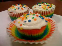 It rained for days and days.  When it finally stopped, we made Rainbow Cupcakes!