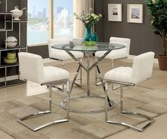 5 pc Livada II collection modern style chrome and round glass counter height table with white faux leather. This set includes the table with 4 side chairs. Table measures x x H. Side chair measures 18 x 20 x 35 H. Some assembly required. Counter Height Dining Table, Glass Dining Table, Dining Tables, Bar Tables, Round Dining, Contemporary Dining Room Sets, Contemporary Style, High Top Tables, Farmhouse Table Chairs
