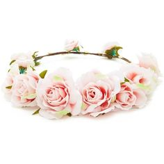 Forever21 Rose Flower Crown Headwrap found on Polyvore featuring accessories, hair accessories, flower crown, flowers, hair, rose headband, embellished headband, headband hair accessories, forever 21 and floral garland