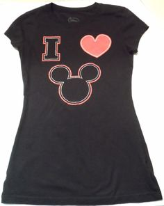 """$19.97/ Ladies BlackGraphic T-Shirt/Tee says """"I Love Mickey Mouse"""" in Junior size 7/9, by Disney  ~~see over 595 Items in over 25 categories of merchandise in my store. I ship globally www.shellyssweetfinds.com   #disney #disneyclothing #mickeymouse"""