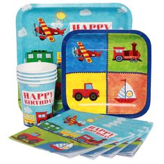 Train Planes Automobiles Birthday Party Pack, train automotive planes, plates, napkins, cups, table covers. Click on photo, then website link at top or visit my store at the bottom of photo to get to products.