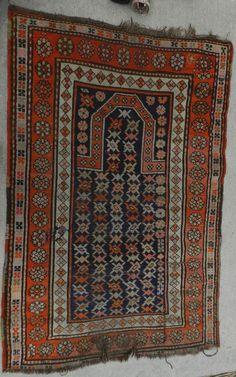 Antique Persian Oriental Carpet 5x3 Shirvan Caucasian Prayer Rug Kuba Tribal OLD #Tribal