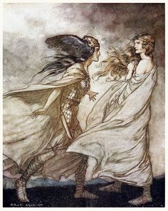 The ring upon thy hand— … ah, be implored! For Wotan fling it away!  Arthur Rackham, from Siegfried & The twilight of the gods, by Richard Wagner, London, 1911.  (Source: archive.org)