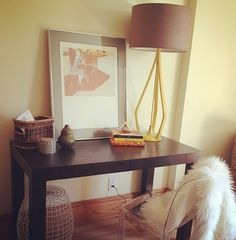 A simple West Elm Parsons desk, all prettied up. Love!