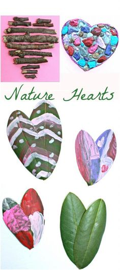 Create Valentines out of nature items. Leaf, stick or rocks make for beautiful heart arts & crafts for the kids. Great for peschooler