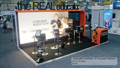 Custom exhibition (trade show) stand for Australian Institute of Personal Trainers with backlit wall  18 sqm