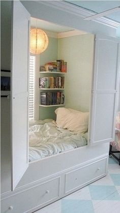 A perfect room for me when I am on a book bender.  I would keep it a secret from my family.
