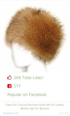 Top christmas gift on Facebook.  Top christmas gift on undefined 269 people likes on Internet. 177 facebook likes. 92 thumbs-up on .undefined futrzane amazon christmas gift. faux fur cossak russian style hat for ladies winter hat for women from amazon christmas gifts. http://www.MostLikedGifts.com/top-popular-christmas-gifts/amazom-christmas-gift-B00F6U5JQO-faux-fur-cossak-russian-style-hat-for-ladies-winter-hat-for-women