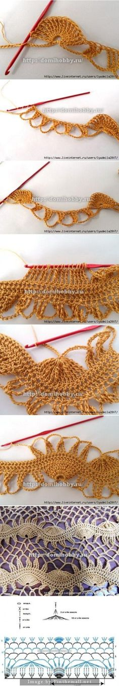 Awesome crochet technique looks like broomstick lace! falso crochê de grampo Más