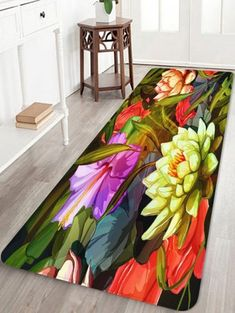 Coral Fleece Flower Print Skidproof Area Mat - multicolor W16 INCH * L47 INCH Fleece Patterns, Wood Patterns, Flower Patterns, Waterproof Floor Mats, Living Room Mats, Cheap Rugs, Rug Material, White Rug, Floor Decor