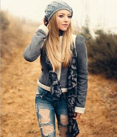 slouchy hat, ripped jeans. Does anyone know who makes these jeans? Need to he me sum.
