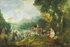 Jean-Antoine Watteau, Pèlerinage à l'île de Cythère, 1717, Musée du Louvre  In antiquity the Island of Cythera situated in the Grecian archipelago was considered as one of the probable locations of the birth of Aphrodite, goddess of love: the island became a sacred place dedicated to Aphrodite and Love.  In this mythological setting Watteau juxtaposes on the one part melancholy, pleasure signifying sadness and on the other part libertine pleasure without any metaphysical meaning.