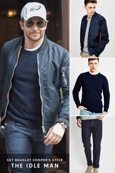 How to style a bomber jacket like Bradley Cooper | Shop The Look Now | #StyleMadeEasy