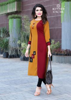 Rayon Kurti in Mustard Color. This Readymade piece is Enhanced with Resham Hand thread and Patch Border (Edge) Work and is Crafted in Round Neck and Quarter Sleeves The Kurti Length is 45 inches and may vary upto 2 inches Kurta Designs Women, Kurti Neck Designs, Dress Neck Designs, Salwar Designs, Kurti Designs Party Wear, Blouse Designs, Printed Kurti Designs, Fancy Kurti, Kurti Sleeves Design
