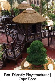 Eco-friendly playstructures are the perfect fit for residential areas, seeing that they have a natural finish that will blend perfectly well with your existing garden and landscaping. Nest Swing, Thatched Roof, Tree Houses, How To Better Yourself, Fencing, Cladding, Screens, Gazebo, Perfect Fit