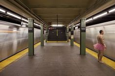 Bedford Avenue station.  Our old stop.  Strange men in ballet tutus....  Ahhh, New York nostalgia.