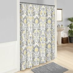 The Marble Hill Rayna Shower Curtain combines casual style with classic elegance. Enjoy the pineapple and arabesque motifs growing from a distressed damask, adding sophisticated style to any bathroom oasis. Shower Curtains Walmart, Yellow Shower Curtains, Shower Curtain Rods, Grey Curtains, Bathroom Curtains, Burlap Curtains, Plywood Furniture, Eames, Traditional Shower Curtains