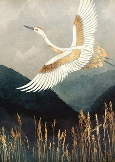 Icanvas Elegant Flight By Spacefrog Designs Giclée Print Canvas Art, Size Gustav Klimt, Framed Art Prints, Canvas Prints, Japon Illustration, Art Japonais, Wassily Kandinsky, Canvas Artwork, Cool Artwork, Abstract Canvas