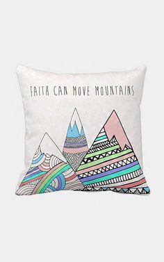 Pillow Cover Faith Can Move Mountains Pastel