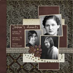 John's Aunts ~ Dramatic and simply designed heritage portraits page. The black, cream and maroon color palette really makes the B/W photos pop!