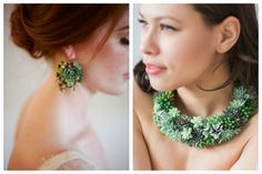 Wearable Succulent jewelry! So cool! Take your floral wedding wearing beyond a floral crown