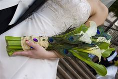 calla lily and peacock feather bouquet image by soygringa - Photobucket