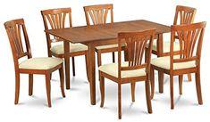 7-Pc Dining Set in Saddle Brown