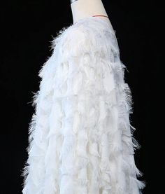 High-grade White peacock feather tassels fabric by hand cut jacquard fabric skirt cloth fabric - 145 cm wide x 1 m x -JHBY Width: 145 cm g/m. A size is 145 cm wide x 1 m x If you buy more, it is a continuous size. Thank you for coming to my shop! White Feather Skirt, White Feathers, Peacock Fabric, Peacock Dress, Tassel Skirt, Tassels, Jacquard Fabric, Lace Fabric, Dress Skirt