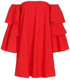 Caroline Constas EXCLUSIVE Carmen Ruffle Sleeve Off The Shoulder Dress