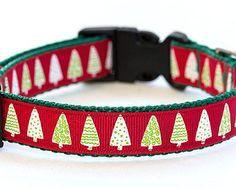 Christmas Dog Collar - 3/4 inch width - Adjustable - Pattern: Festive Trees