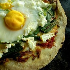 Egg, Ramp and Goat Cheese Pizza   from Foy Update: Garden. Cook. Write. Repeat. (www.FoyUpdate.blogspot.com) #vegetarian #recipe