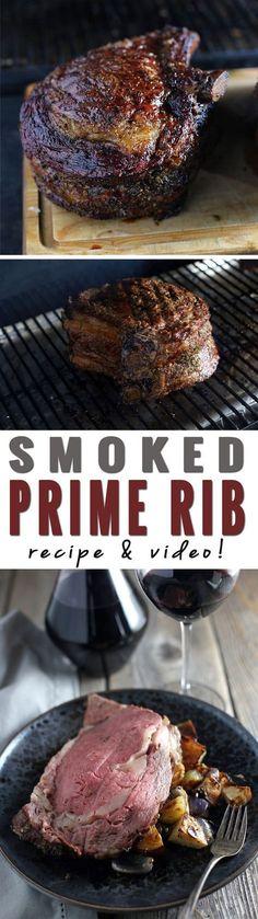 Smoked Prime Rib (recipe and video) - How to Smoke a Prime Rib. Recipe and Vide. - Smoked Prime Rib (recipe and video) – How to Smoke a Prime Rib. Recipe and Video! Traeger Recipes, Grilling Recipes, Meat Recipes, Grilling Tips, Healthy Grilling, Vegemite Recipes, Bulgur Recipes, Grilling Chicken, Chard Recipes