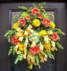 SUNNY DAYS Colorful  Lime Orange Yellow Wreath