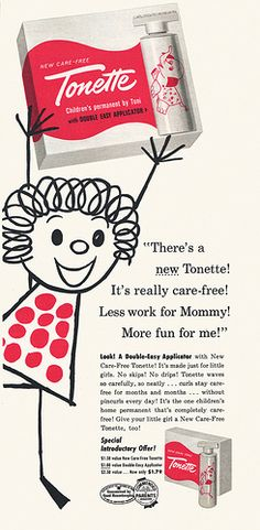 """my nightmare """"bubble"""" perm mom gave me when i was 8.1957 - A toni perm for little girls"""
