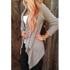 Casual Collarless Long Sleeve Knitted Cardigan For Women $15.26