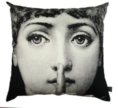 Be Silent Please/Sleeping The face of Lina Cavalieri, made into an icon black and white image of the 20th century by Piero Fornasetti, depicted here as hushing up and on the reverse sleeping. Black print on white cotton.    This authentic Fornasetti piece is made in Italy by Luciano Marcato.