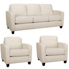The Bryce white Italian leather sofa and two chairs are handcrafted using time-honored Old World techniques. This furniture features premium Italian leather and a durable hardwood frame.
