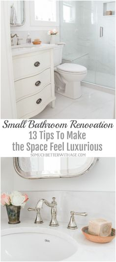 Small Bathroom Renovation - 13 Tips to Make the Space Feel Luxurious - So Much Better With Age #bathroomdesign #bathroomideas #somuchbetterwithage #frenchcountry #homedecorideas