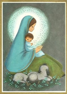 Old Christmas Post Card — Vintage Christmas Card 'Madonna and Child' Merry Christmas Eve, Christmas Nativity, Vintage Christmas Cards, Christmas Images, Christmas Post, Madonna Und Kind, Madonna And Child, Blessed Mother Mary, Blessed Virgin Mary