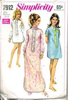 """Vintage 1968 Simplicity 7912 Misses Sleep-Shirt in Two Lengths Sewing Pattern Size Medium 12 -14 Bust 34"""" - 36"""" by Recycledelic1 on Etsy"""
